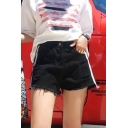 Classic Womens Shorts Ripped Side Stripe High Rise Frayed Cuffs Loose Fitted Zipper Fly Denim Shorts