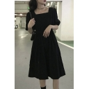 Black Pretty Womens Solid Color Gathered Waist Square Neck Short Puff Sleeve Midi A-Line Dress