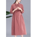 Trendy Stripe Printed Linen and Cotton Long Sleeve Point Collar Button Up Patchwork Midi Oversize Shirt Dress