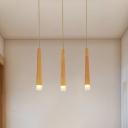 Matchstick Kitchen Multiple Hanging Light Wood 3/5-Light Nordic Ceiling Pendant in Beige