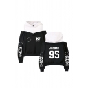 Chic Ladies Star Letter Nct Print Patchwork Fake Two Pieces Drawstring Cold Shoulder Long Sleeve Relaxed Fit Hooded Sweatshirt