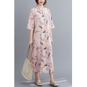 Vintage Womens Tribal Style Floral Bird Printed Split Side Frog Button Front Mandarin Collar Half Sleeve Oversize Midi Cheongsam Dress in Pink