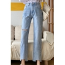 Blue Trendy Light Wash Zipped Fly Ripped Pockets High Rise Ankle Length Straight-Leg Jeans for Women