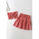 Hot Girls Ditsy Flower Stringy Selvedge Strapless Tied Front Fit Crop Tube Top & Ruffled Mini A-line Skirt Set