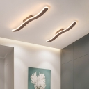 Wave Flushmount Light Contemporary Metal LED Corridor Ceiling Mounted Fixture in Coffee