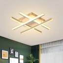 Acrylic Crossed Line Flush Light Modernism LED White Ceiling Lighting for Bedroom