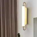 LED Stairway Wall Sconce Lighting Nordic Brass Wall Light Fixture with Cylinder Opaline Glass Shade