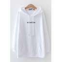 Leisure Womens Letter Sometime Embroidered Kangaroo Pocket Long Sleeve Relaxed Fit Rabbit Ears Hoodie