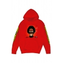 Streetwear Sherpa Liner Letter Skull Graphic Long Sleeve Pouch Pocket Loose Hoodie for Men