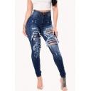 Women's Fancy Jeans Distressed High-rise Pockets Full Length Zip Fly Dark Wash Skinny Jeans