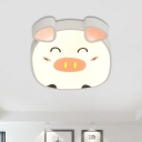 Minimalist LED Ceiling Lighting White Cartoon Piggy Flush Mount Fixture with Acrylic Shade in Warm/White/Natural Light