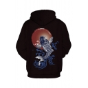 Trendy Mens Fish Print Long Sleeve Pouch Pocket Relaxed Fitted Hoodie in Black