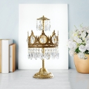 Crown Shape Bedroom Night Table Light Modern Faceted Crystal LED Brass Nightstand Lamp