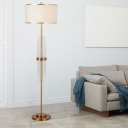Fabric Drum Standing Light Modern 1 Head Living Room Floor Lamp in Brass with Crystal Tube Accent