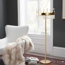 Crystal Drip Crown Shape Floor Light Modernist 1 Light Living Room Standing Lamp in Champagne