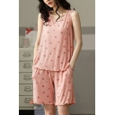 Pop Ladies All Over Strawberry Print Lettuce Trim Scoop Neck Sleeveless Loose Tank Top & Pocket Shorts Pajama Set in Pink