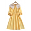Pretty Girls Corduroy Long Sleeve Lace Peter Pan Collar Button Up Mid A-line Dress