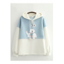 Unique Color Block Cartoon Bear Letter Hi Graphic Print Drawstring Long Sleeve Relaxed Fit Hoodie for Ladies
