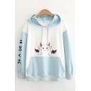 Girls Fashionable Color Block Cartoon Japanese Letter Graphic Print Drawstring Kangaroo Pocket Long Sleeve Loose Fit Hooded Sweatshirt