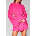 Gorgeous Womens Red Long Sleeve Mock Neck Backless Ruffled Short A-line Dress