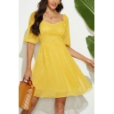 Yellow Fancy Polka Dot Printed Open Back Double Layer Gathered Waist Sweetheart Neck Puff Sleeve Mini A-Line Dress for Women