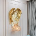 Gold/Dark Gold 1-Bulb Wall Lamp Rural Resin Angel Wearing Swing Wall Light with Dome/Teardrop Crystal Shade
