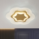Gold LED Bloom Flush Mount Lighting Simplicity Acrylic Close to Ceiling Lamp in Warm/White Light