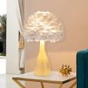 Feather Bowl Night Table Light Modern 1-Bulb White Task Lighting with Bottle-Like Base