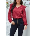 Pretty Girls Polka Dot Printed Long Sleeve Ruffled V-neck Relaxed Fit Blouse in Red