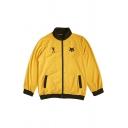 Novelty Mens Jacket Fox Head Footprint Letter Pattern Contrast Trim Zipper down Mock Neck Long Sleeve Loose Fit Casual Jacket