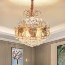 Cone Hanging Chandelier Modernist Crystal Orbs 6 Lights Gold Suspension Lighting with Crown Design