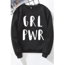 Retro Hooded Sweatshirt Womens Letter Printed Cuffed Loose Fit Long Sleeve Crew Neck Pullover Sweatshirt