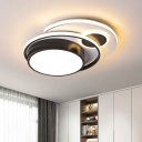Black and White LED Circle Ceiling Lamp Nordic Style Acrylic Flush Mount Lighting Fixture