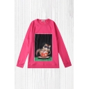Mens Dressy Pullover Sweatshirt Cup Cat Sunglasses Plate Printed Loose Fit Long Sleeve Round Neck Pullover Sweatshirt in Pink