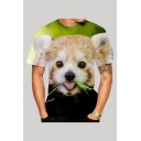Mens 3D T-Shirt Stylish Red Panda Bamboo Printed Slim Fitted Round Neck Short Sleeve T-Shirt
