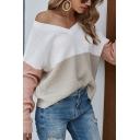 Stylish Womens Color Block V Neck Long Sleeve Relaxed Fit Knitted Pullover Sweater