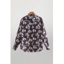 Fashionable All Over Flower Printed Long Sleeve Point Collar Button Up Curved Hem Relaxed Shirt Top in Burgundy