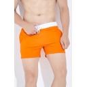 Casual Color Block Tape Drawstring Waist Pocket Slim Fit Track Shorts for Men
