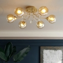 Modernist Ball Semi Flush Light Fixture Amber Glass 6 Bulbs Living Room Close to Ceiling Lamp