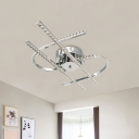 Modern Dollar Shaped Semi Flush Metal LED Flush Mount Lamp in Stainless-Steel with Crystal Accent, Warm/White Light