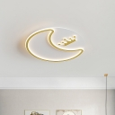 Gold Moon and Crown Ceiling Fixture Modern LED Acrylic Flush Mount Light for Nursery Room