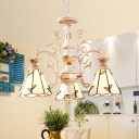 Cone Chandelier Lamp 3/5 Heads Tiffany White Stained Glass Pendant Light Fixture with Leaf Pattern
