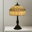 Beige Stained Glass Table Lighting Tapered Drum 1-Head Tiffany Night Lamp for Bedside