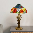 Tiffany Bowl Night Table Light 3-Bulb Cut Glass Floral Patterned Nightstand Lamp in Gold with Naked Woman Base