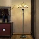 Victorian Scalloped Floor Lighting 3-Light Hand Cut Glass Beaded/Flower Patterned Reading Floor Lamp in Brass