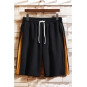 Cool Mens Shorts Tape Zipper Pocket Drawstring Mid Rise Fitted Shorts