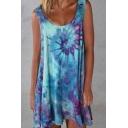Fashionable Tie Dye Scoop Neck Sleeveless Oversized Mini Tank Dress for Women