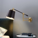 1 Bulb Black/White Cone Wall Mount Light Modernism Fabric Reading Wall Lamp with Adjustable Arm