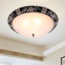 2/3 Bulbs Opal Glass Flush Light Rural Black Bowl Shade Bedroom Flushmount Lighting with Leaf/Flower Edge, 14