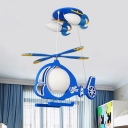 Kids 5-Bulb Ceiling Mounted Lamp Blue Helicopter Flush Light with Milk Glass Shade